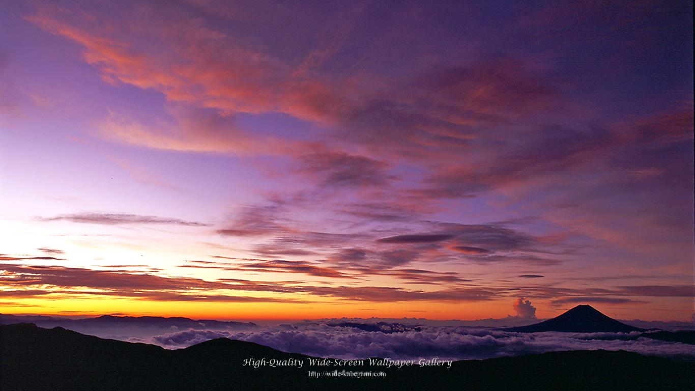 富士山のワイド壁紙 1366x768 朝焼けの富士山 無料ワイド高画質壁紙館