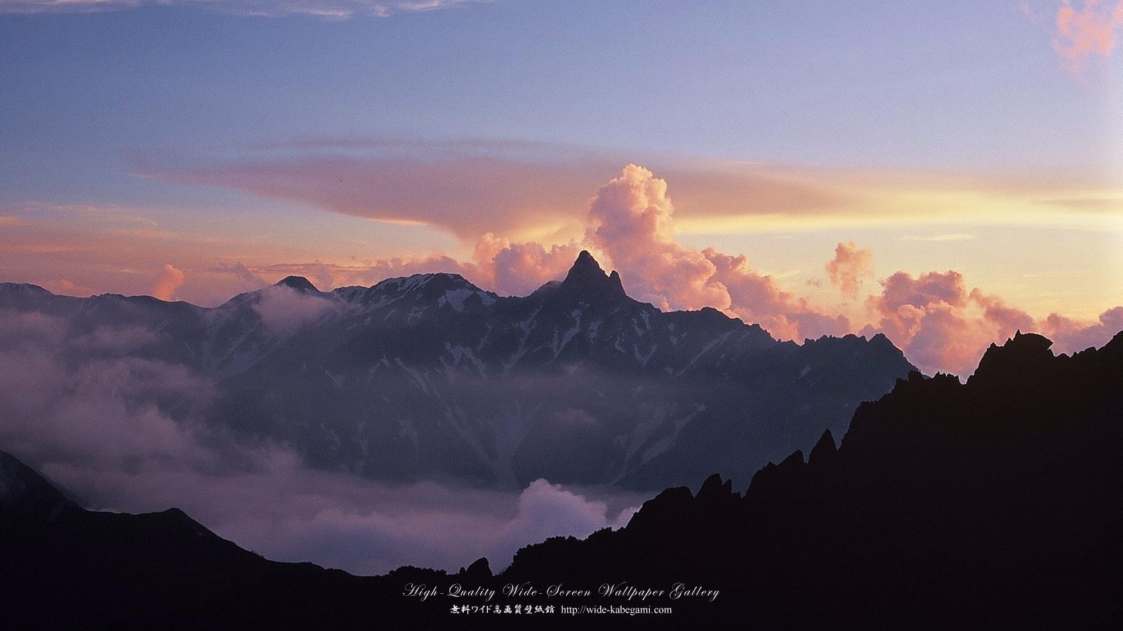 自然風景のワイド壁紙 1600x900 槍ヶ岳夕照 無料ワイド高画質壁紙館