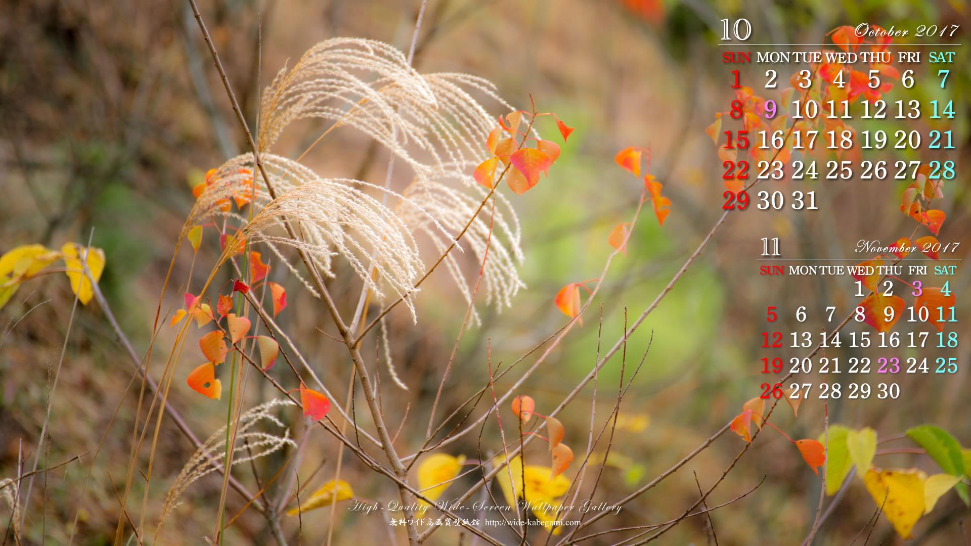 17年10月の自然ワイド壁紙カレンダー 秋の寸景 無料ワイド高画質壁紙館